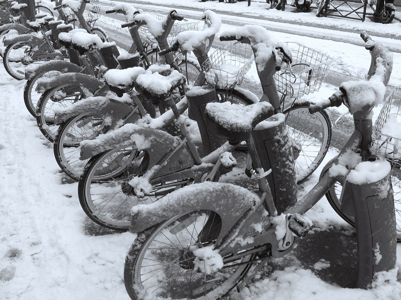 paris, зима, велосипеды